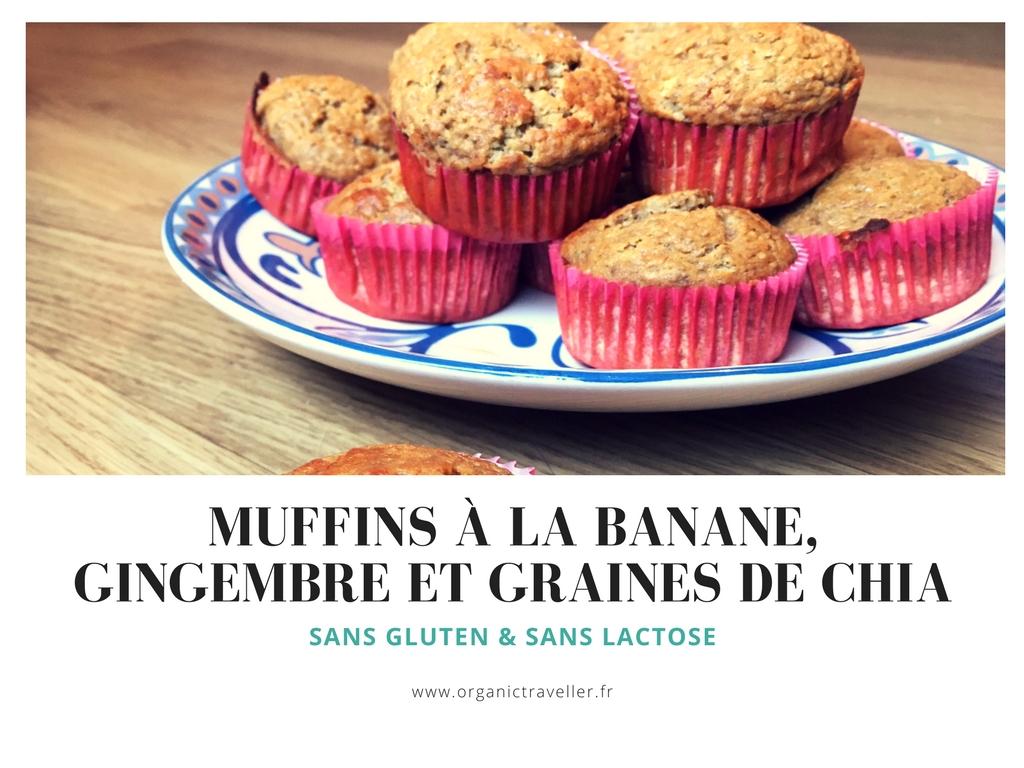 Recette : Muffins à la banane, gingembre et graines de chia (SL, SG)